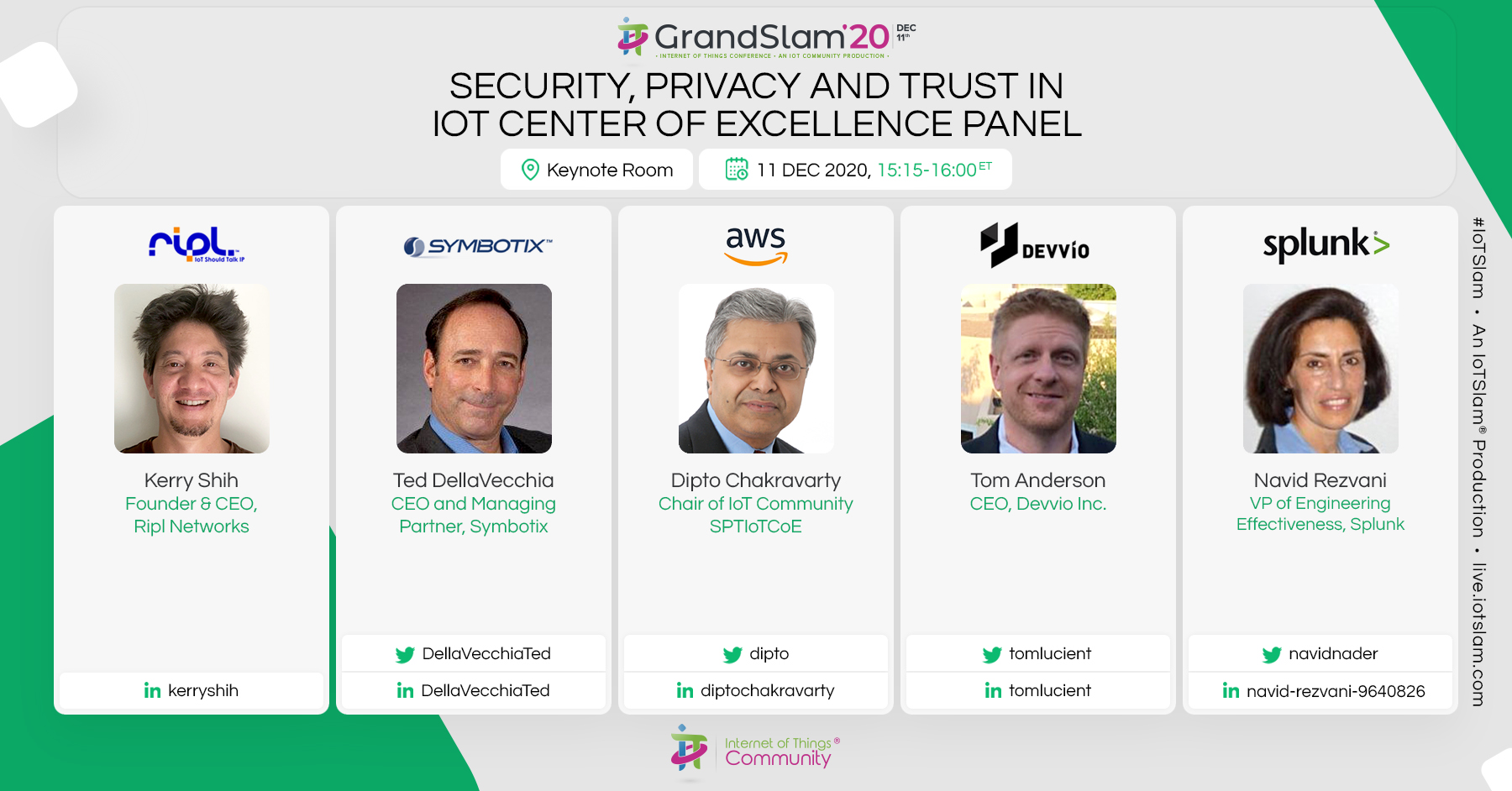 Security, Privacy and Trust in IoT Center of Excellence Panel